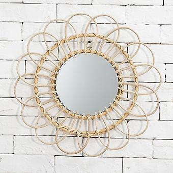 Sun Shape Decorative Mirror Rattan Innovative Art Decoration Round Makeup