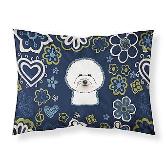 Blue Flowers Bichon Frise Fabric Standard Pillowcase