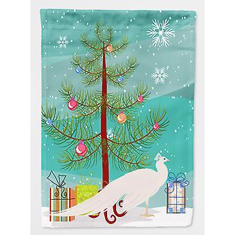 Carolines skatter BB9293GF hvit Peacock påfugl Christmas flagg Garden størrelse