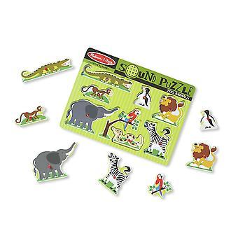 Melissa & Doug Zoo Animals Sound Puzzle - Wooden With Sound 8 pcs