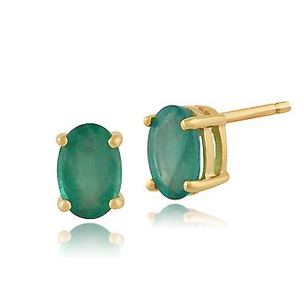 Gemondo Emerald Oval Stud Earrings In 9ct Yellow Gold 6x4mm Claw Set