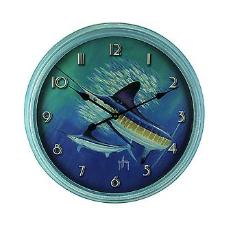 Guy Harvey blau Sailfish abgeschrägten Rahmen runden Wand Uhr 24 Zoll