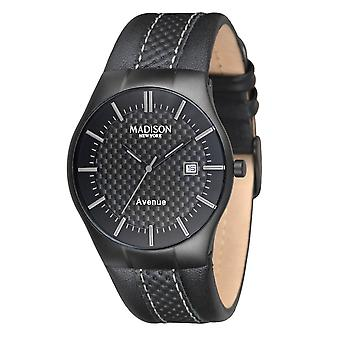 Unisex horloge van het NEW YORK van MADISON polshorloge lederen G4785D Avenue