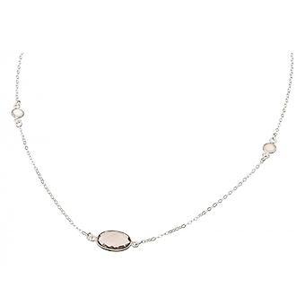 Gemshine Dámske náhrdelník 925 Silver Smoky Quartz Moonstone Brown biela