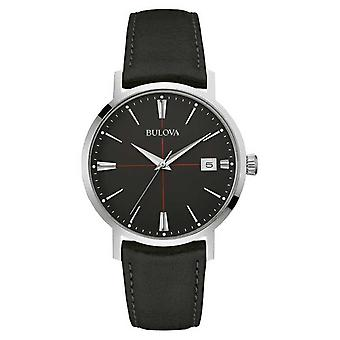 Bulova Mens Black Dial Black Leather Strap 96B243 Watch