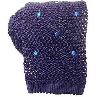 KJ Beckett Spotted Silk Knitted Tie - Blue