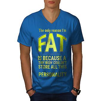Funy Fat Happy Men Royal BlueV-Neck T-shirt   Wellcoda