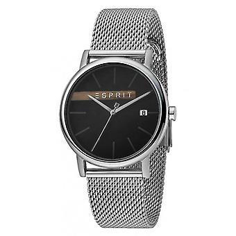 ESPRIT Herrenuhr Uhren Quarz analog Holz Schwarz Silber Mesh