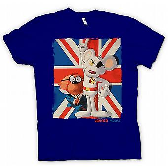 Mens T-shirt - Danger Mouse and Penfold - Union Jack - Retro