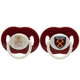 West Ham United FC Official Soothers (Pack Of 2)