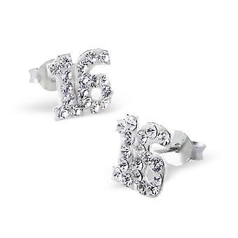 Sixteen - 925 Sterling Silver Crystal Ear Studs - W6854X