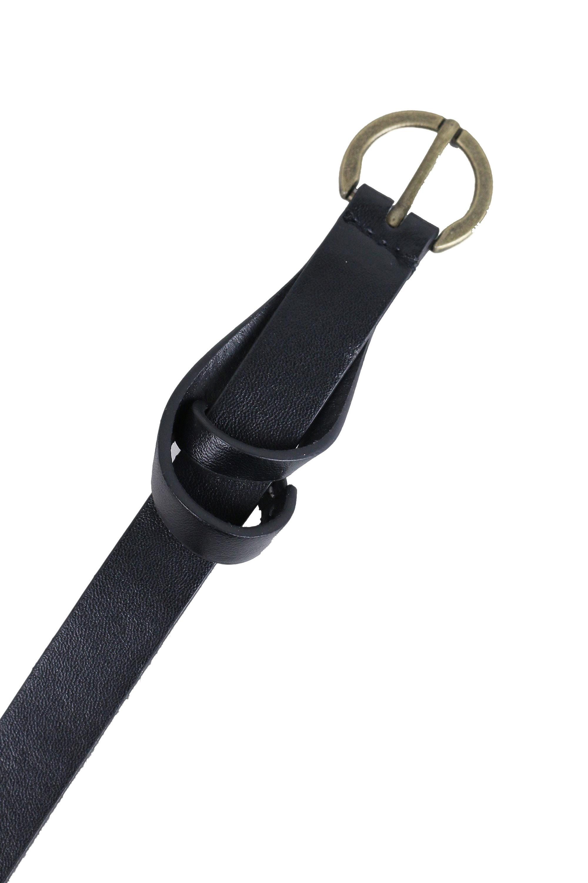 Lovemystyle Skinny Black Belt With Gold Round Buckle