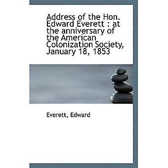 Osoite Hon. Edward Everett: American kolonisaatio Society Januar vuotta