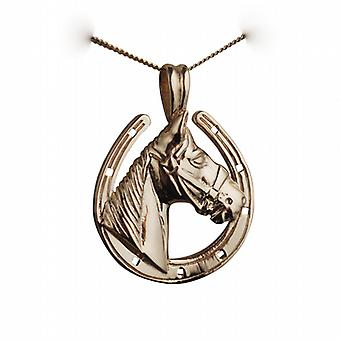 9ct Gold 22x20mm Horse Head in Horseshoe Pendant with a curb Chain 20 inches