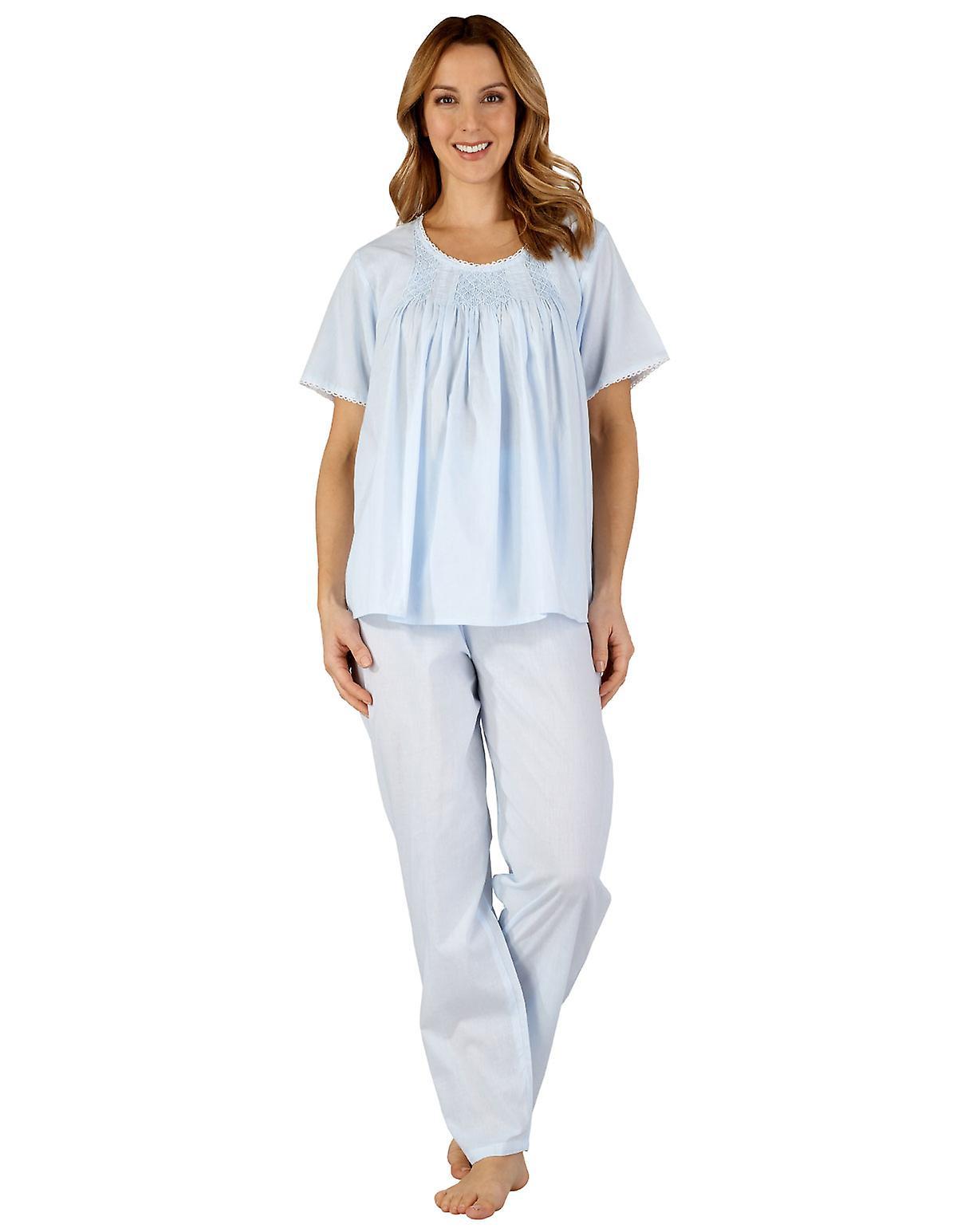 Slenderella PJ3257 Women's Cotton Woven Pajama Pyjama Set