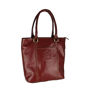 Garnet Red Genuine Leather Florida State FSU Embossed Tote Bag