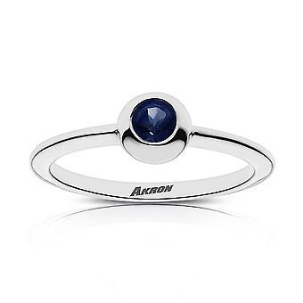 University of Akron Sapphire Ring In Sterling Silver Design by BIXLER