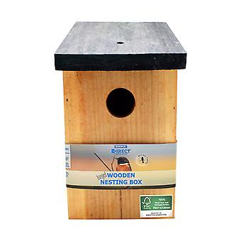 1 x Simply Direct Pressure Treated Wooden Wild Bird House Nesting Box SDBF017FSC - Made Using 100% FSC Wood, Environmentally Friendly Sustainable Forests