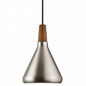 1 Light Dome Ceiling Pendant Brushed Steel, Oiled Walnut