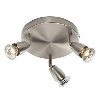 3 luces de níquel satinado
