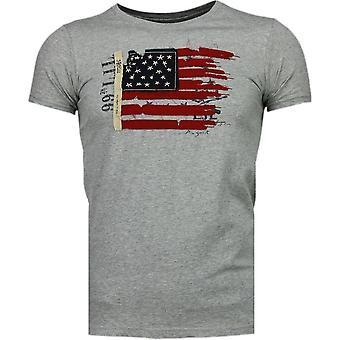 USA Flag Embroidery-T-Shirt-Grey