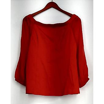 H by Halston Top Off the Shoulder VIP Ponte Knit w/Chiffon Sleeves Red A295069