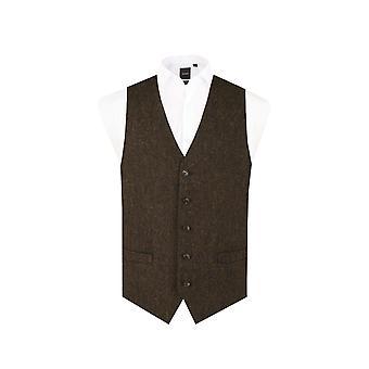 Scottish Harris Tweed Mens Green Barleycorn Tweed Waistcoat Regular Fit