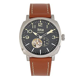 Reign Napoleon Automatic Semi-Skeleton Leather-Band Watch - Silver/Brown