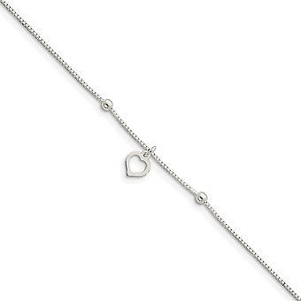 925 ασημένια γυαλισμένη φανταχτερή αλυσίδα κιβωτίων περάτωσης αστακών με τον αστράγαλο καρδιών αγάπης 9 ίντσας δώρα κοσμήματος νυχιών αστακών Fo