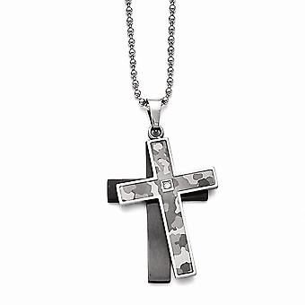 Stainless Steel Polished Black Ip plated 0.02ct. Diamond Necklace 24 Inch Jewelry Gifts for Women