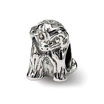 925 Sterling Silver Polished Antiquário ReflexãoS Sitting Puppy Bead Charm Piny Piny Jewely Gifts for Wome