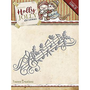 Find It Trading Yvonne Creations Die-Music Border, Holly Jolly