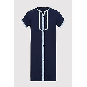 Gandoura sami boy's contrast trim short sleeve long robe thobe in navy blue (2-12yrs)