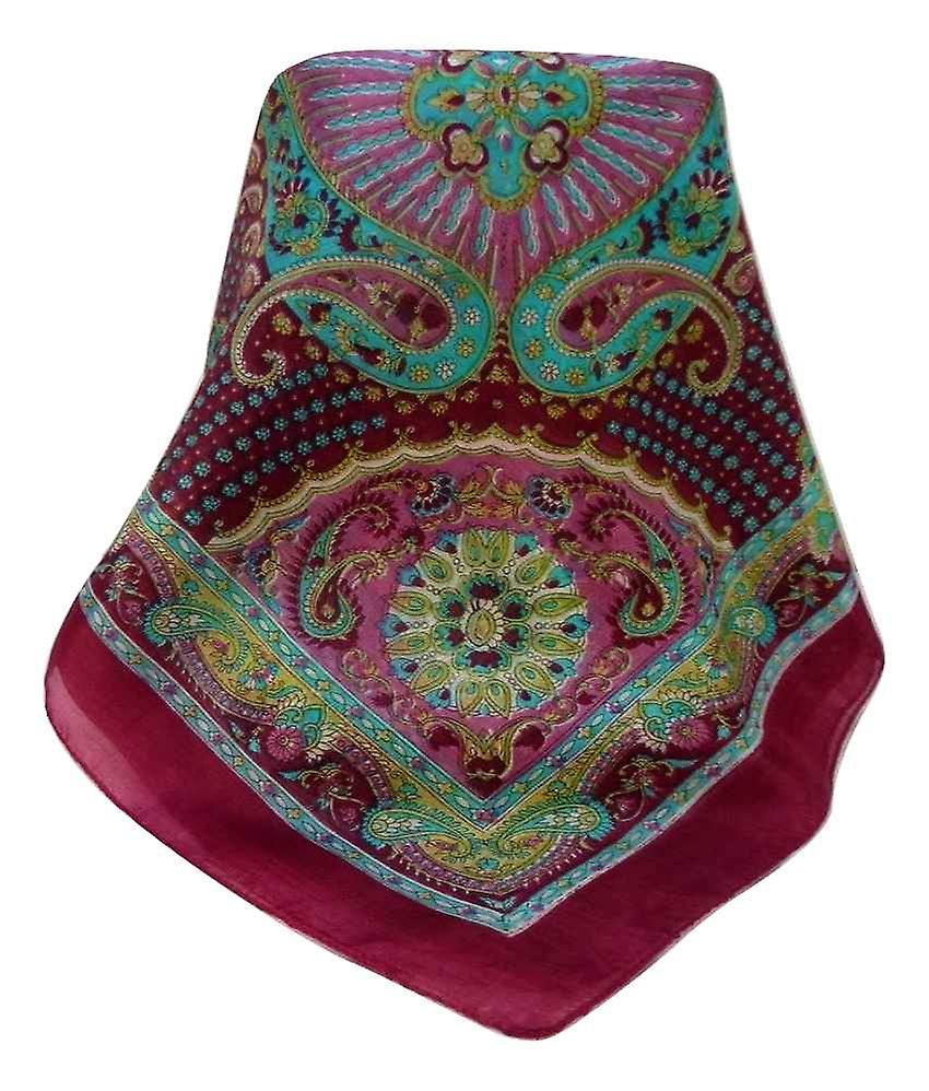 Mulberry Silk Traditional Square Scarf Omana Rose by Pashmina & Silk