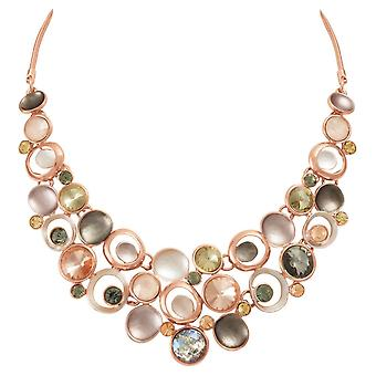 Eternal Collection Vivacious Natural Multi Enamel Crystal Rose Gold Tone Statement Necklace
