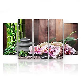 Vijf deel foto op canvas, Pentaptych, type B, orchidee gespikkelde