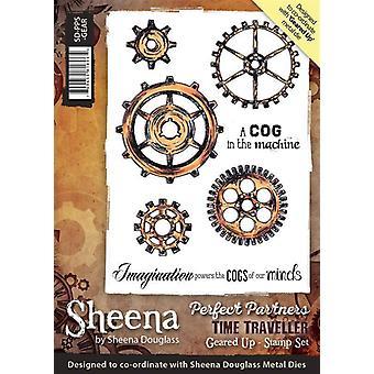 Sheena Douglass Perfect Partners Time Traveller A6 Rubber Stamp Set - Geared Up