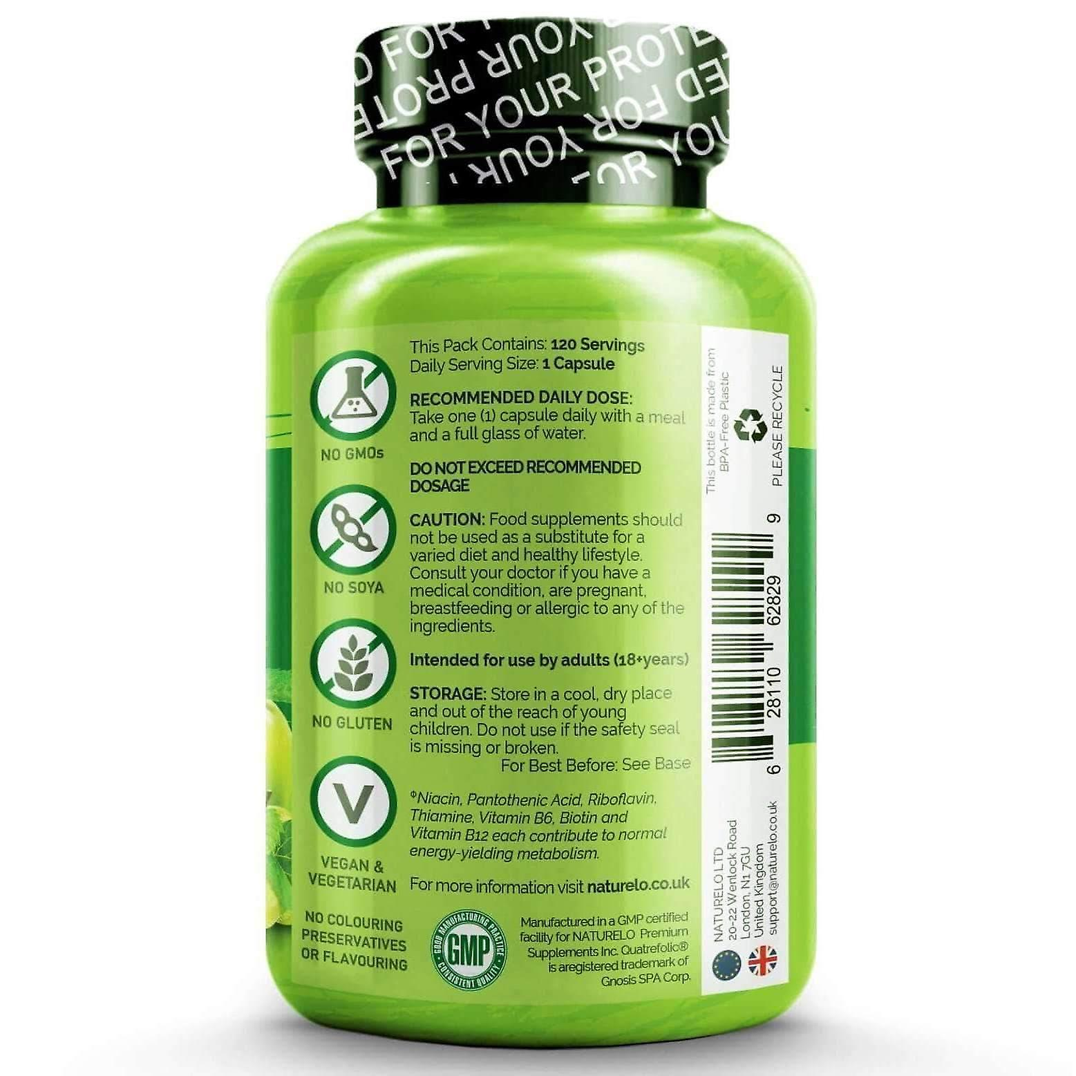 B complex with natural vitamin b6, folate, b12 & biotin - 120 caps | 4 month supply (vegan)