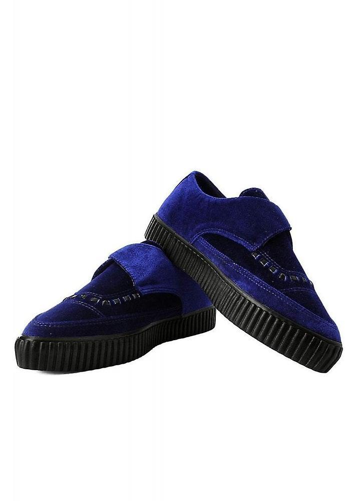 Tuk Sko Midnight Blue Velvet Monk Spenne Spisse Creeper Sneaker