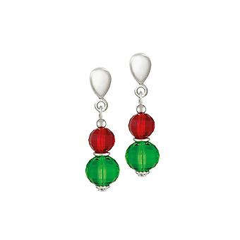 Eternal Collection Festivity Red And Green Crystal Silver Tone Drop Clip On Earrings