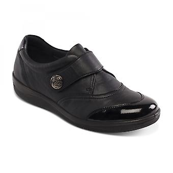 Padders Gaby Ladies Couro Largo (e Fit) Sapatos Preto