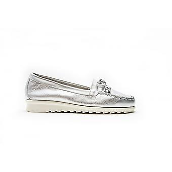 Padders Bloom Ladies Leather Wide (e Fit) Boat Shoes Silver