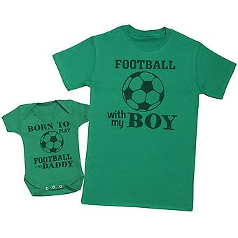 Born To Play Football With Daddy Matching Father Baby Gift Set - T-Shirt homme et body pour bébé