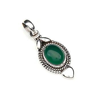 Green Onyx Pendant 925 Sterling Silver Chain Pendant Locket Green (125-14)