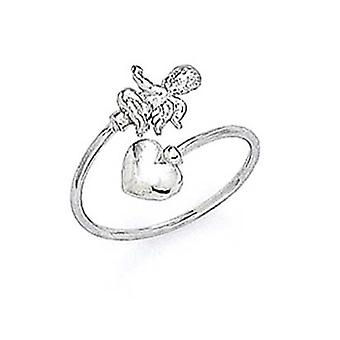 14k White Gold Cupid Toe Ring Jewelry Gifts for Women - .9 Grams