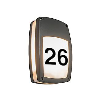 QAZQA Exterior wall lamp dark gray with house number - Glow recta 1
