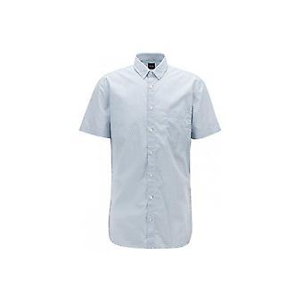 Hugo Boss Casual Hugo Boss Mens Slim Fit Magneton Krótki rękaw Biała koszula
