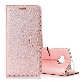 For Samsung Galaxy Note 9 Leather Wallet Case Rose Gold Silk Texture Flip Cover