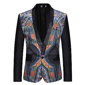 Allthemen Men 's Ethnic Blazer 1 Button Impresso Africano Vintage Event Dress Jackets