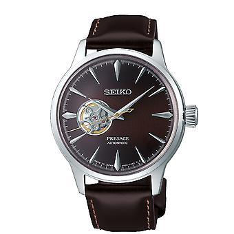 Seiko Presage Cocktail Time Stinger Automatic Open Heart Brown Leather Strap Men's Watch SSA407J1